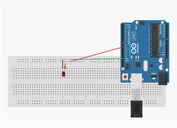 Circuit diagram for fade-in and fade-out with Arduino IDE
