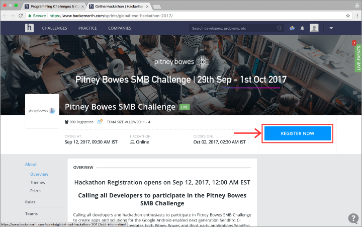 Register for hackathons on HackerEarth