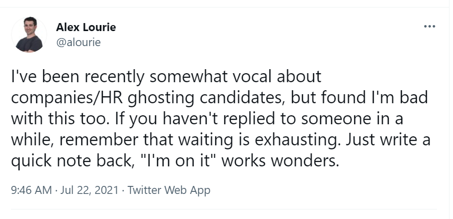 Ghosting candidates after tech interviews is one of the biggest reasons for a negative candidate experience